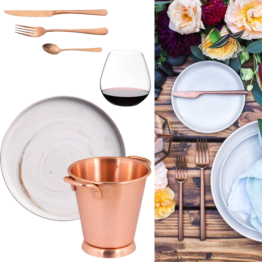 Romantic escape inspiration board showing rose gold