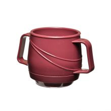 Modern Beverage Mug Double Handle - Burgundy