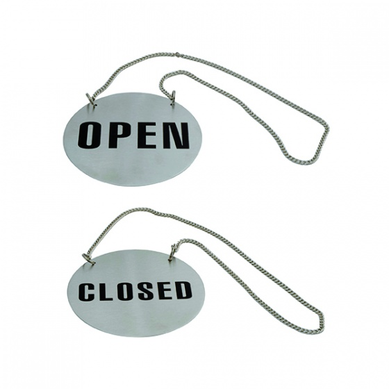 Round Stainless Steel Open/Close Sign With Chain