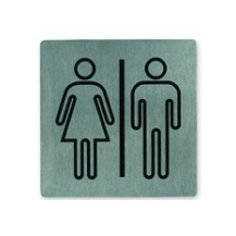 Restrooms Stainless Steel Wall Sign 130 x 130mm