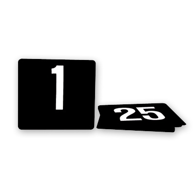 Table Number Set-1-25  White On Black