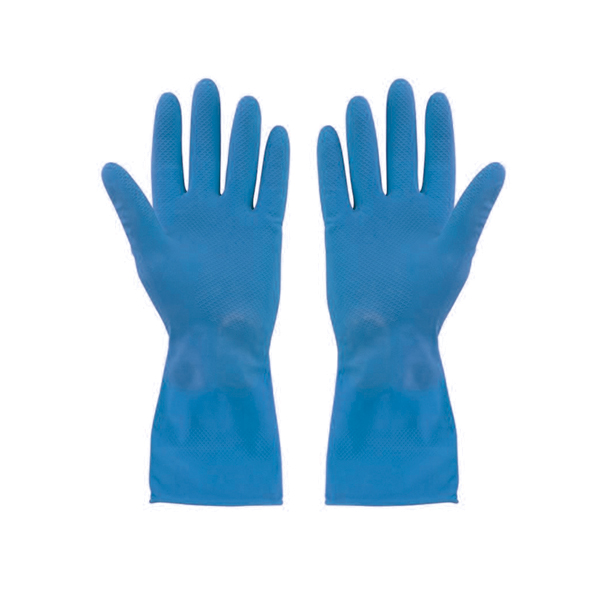 Blue Flocklined Gloves Small