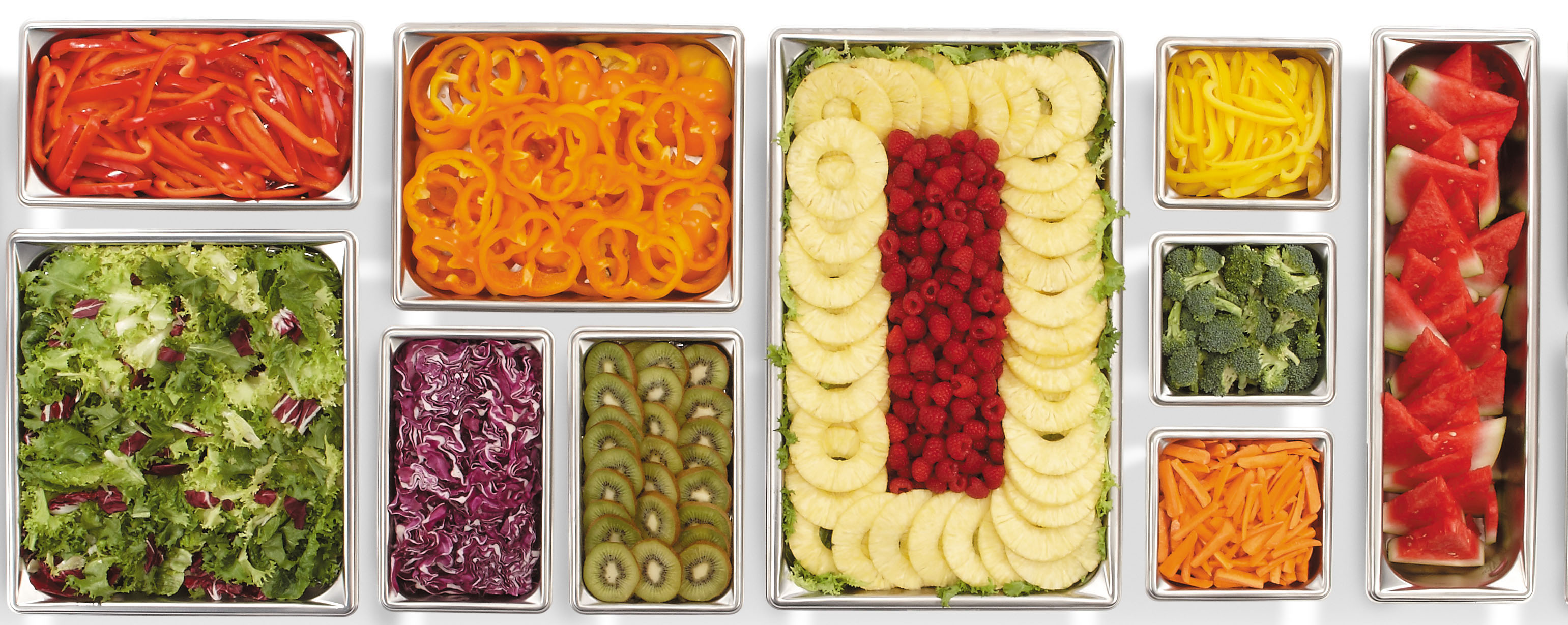 Food Pans Filled with Colourful Fruit & Vegetables