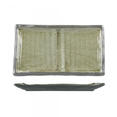 Uniq Green Rectangular Ribbed Plate - Image 1