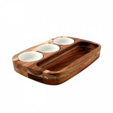 Athena Dipping Plate Set with 3 Bowls 205x300mm