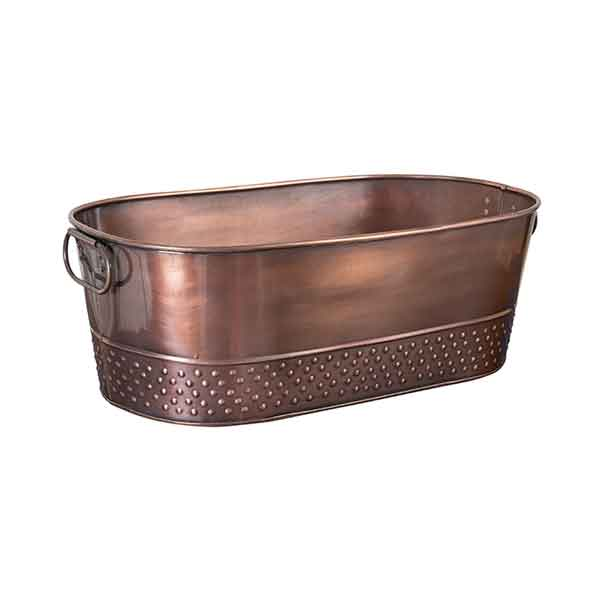 Moda Oval Beverage Tub Antique Copper with Pebble Pattern