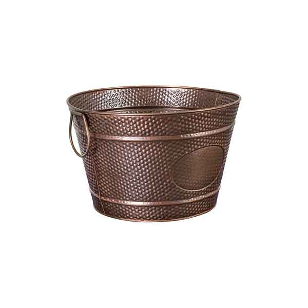 Moda Round Beverage Tub Antique Copper with Pebble Pattern