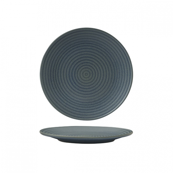 Zuma Denim Round Coupe Plate - Ribbed 210mm