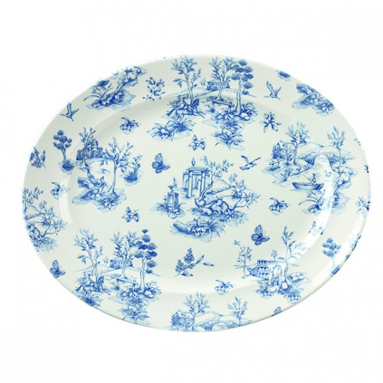 Churchill Vintage Toile Wide Rim Oval Plate