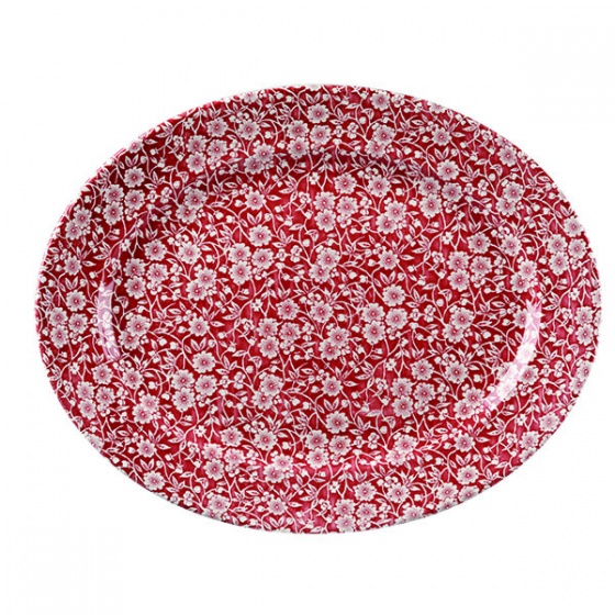 Churchill Vintage Cranberry Victorian Calico Print Wide Rim Oval Plate