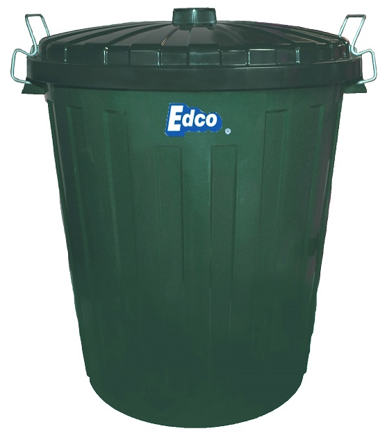 Green Plastic Garbage Bin with Lid 55 Litre