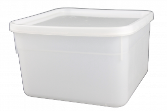 Square Ice Cream/ Food Tub & Lid 2.5Ltr White