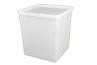 Square Ice Cream/ Food Tub & Lid 4.5Ltr White