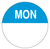 Permanent Preparation Round Day Label 24mm Monday