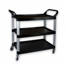 Black Plastic Utility Trolley With 3 Shelves